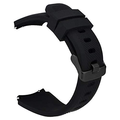 iBazal 22mm Armband Silikon Uhrenarmband Silikonarmband Armbänder Band Ersatz für Samsung Galaxy 46mm,Gear S3 Frontier/Classic,Huawei GT/2 Classic,Ticwatch Pro Herren Uhrarmband - Schwarz/Schwarz