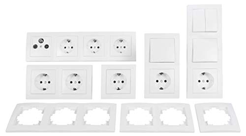 MC POWER - FLAIR - Wand Steckdosen und Schalter Set | Wohnlandschaft | 20-teilig | weiß, matt