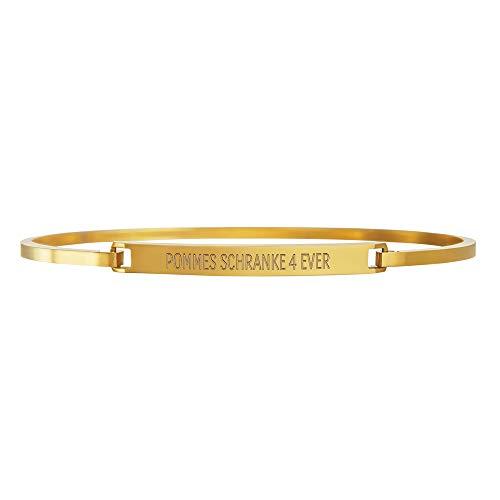 Gravado Armreif aus Gold-Edelstahl mit individueller Wunschgravur und Hakenverschluss, Inkl. Geschenkbox, Damen Schmuck