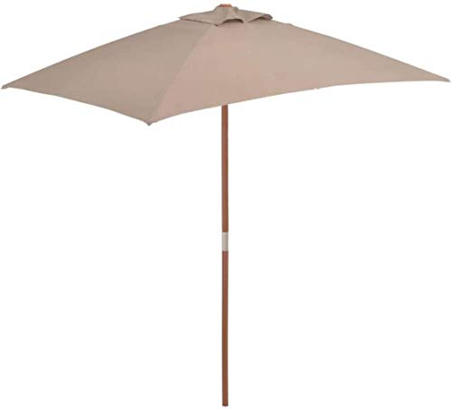SHANCL Garden Parasol Proteger al Aire Libre al Aire Libre Parasol con Palo de Madera 150 * 200cm Topo jardín de césped de jardín al Aire Libre