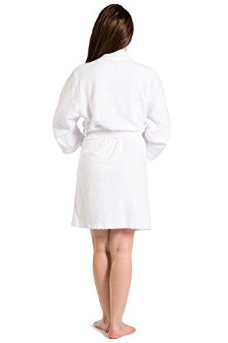 Fishers Finery Women's Short Cotton Terry Bathrobe (White, M)