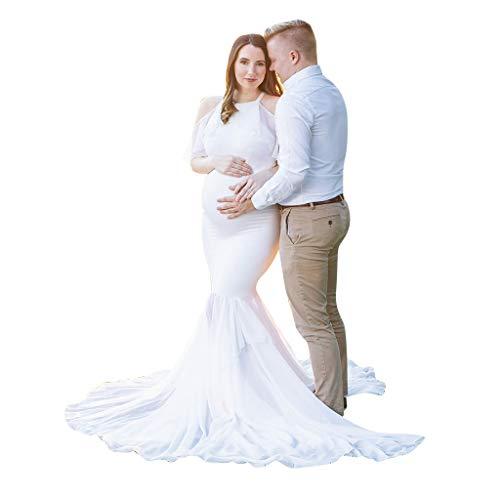 Off Shoulder Kleid Lang Umstandskleider Hochzeit Fotografie Schwangerschaftskleid Umstands-Spitzen-Kleid Elegantes Schwangerschafts Kleid für Festliche Anlässe Weiß Blau Cocktailkleid Abendkleid