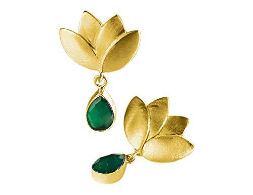 Pendientes Flor de Loto Oro 18K con Piedra Natural Onix Verde para Mujer