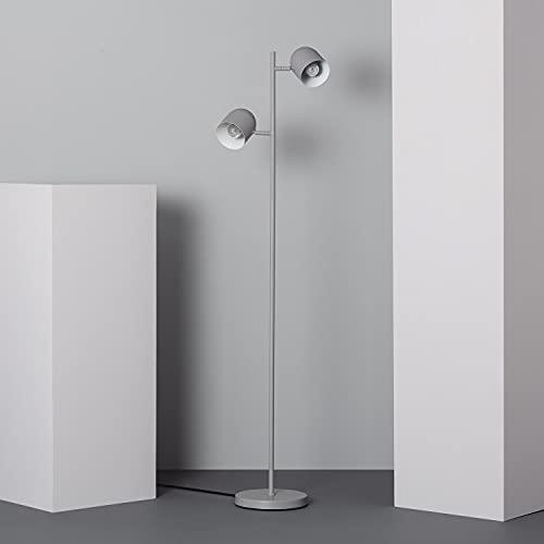LEDKIA LIGHTING Lámpara de Pie Santy Orientable 1460x350x230 mm Gris E27 Casquillo Gordo Aluminio Decoración Salón, Habitación, Dormitorio