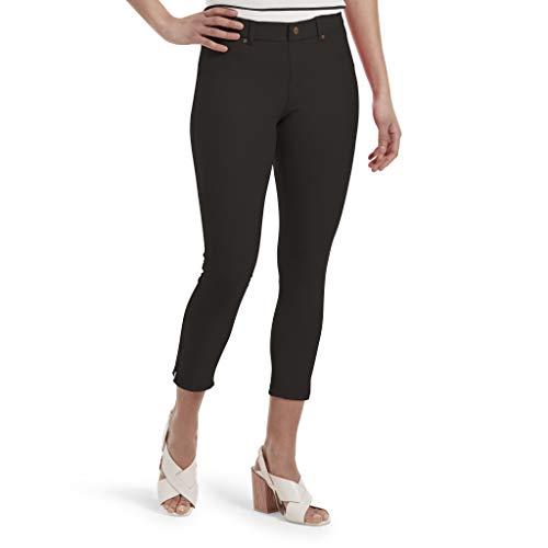 HUE Women's Essential Denim Jean Capri Leggings, Assorted, Ankle Slit/black, L