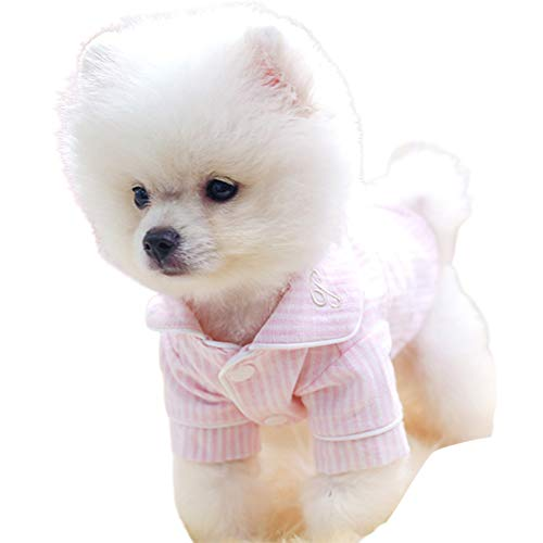 Uticon Pijamas para cachorros, perros, gatos, perros, ropa de algodón suave, a rayas, ropa de dormir para el hogar, suministros para mascotas, color rosa y blanco L