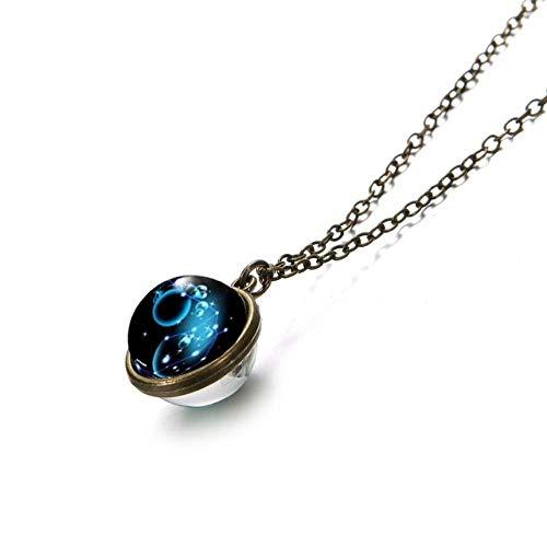 RSTP Stilvolle Aquarius 12 Constellation Zodiac Symbol Design Fashion Galaxy Double Face Pendant Necklace Woman Man Glass Convex Circle Fashion Jewelry Classic