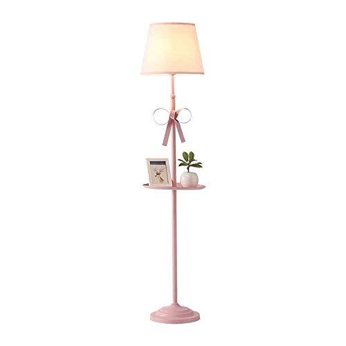 LHJCN Lámpara de pie Estilo nórdico Princesa Habitación para niños Sala de Estar Ins Net Lámpara de pie roja Dormitorio Mesita de Noche Lámpara de Mesa Vertical Rosa