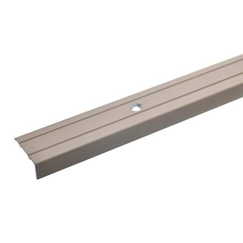 acerto 32010 Aluminium Stufenkanten-Profil - 100cm x 24,5mm – Bronze hell * 10mm Höhe* Rutschfest * Robuster Kantenschutz | Gelochtes Treppenkanten-Schutzprofil für Laminat, PVC | Rutschhemmend