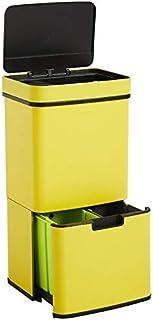 Homra Poubelle de tri sélectif à capteur - 4 Compartiments - 72 litres - INOX - Design Poubelle de Recyclage - Nexo Jaune