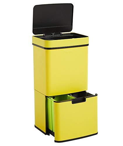 Homra Nexo Amarillo - Cubo de basura y reciclaje grande con sensor de 3 + 1 compartimentos ( 82,5 x 42 x 31,5 cm) metalico en acero inoxidable, 72 litros