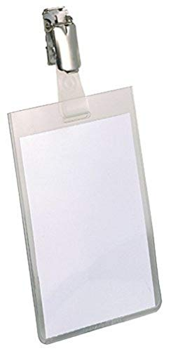 Durable 800219 Identyfikator z klipem (90 x 60 mm), opak. 25 sztuk, przezroczysty.