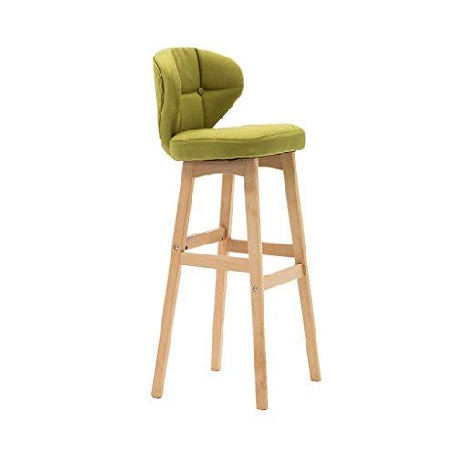 Houten barkruk Barkruk Hoge kruk met rugleuningstoel Eetkamerstoel Cafe Keuken Bureaustoel Hotel Vrije tijd Bureaustoel (Color : Green, Size : 68cm)