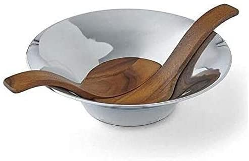 Alloy Metal Recommended Round Chillable Inexpensive Salad Servers Acacia Wood with Bowl