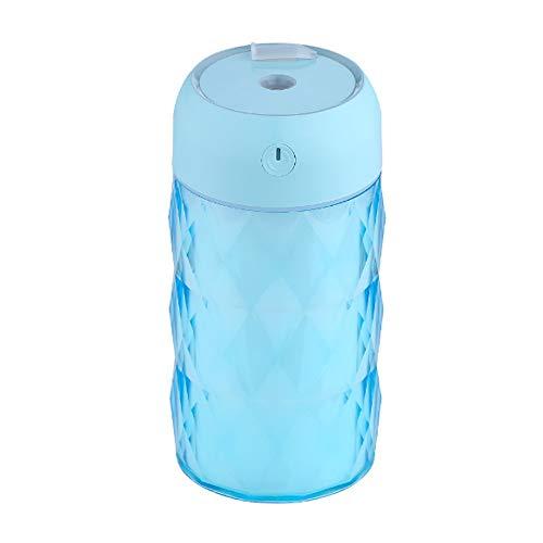 SWNN Humidificador Multi-función Botella de Cristal humidificador USB Night Light Fan Purificación Auto Portátil Pulverizador Anti-Secado (Color : Blue)
