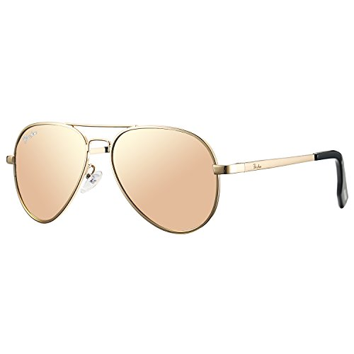 Pro Acme Small Polarized Aviator Sunglasses for Kids and Youth Age 5-18 (Gold Frame/Pink Mirrored Lens)