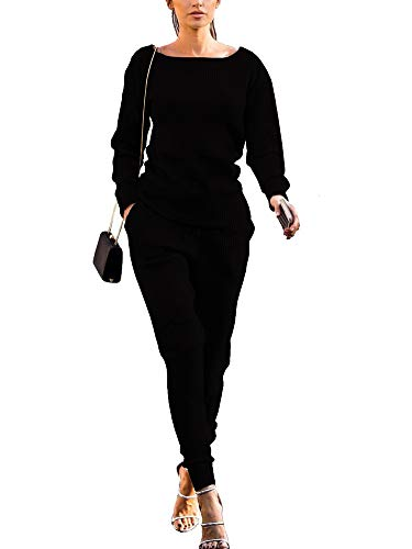 Womens Fall Rib-Knit Pullover Sweater Long Sleeve Top Drawstring Long Pants Set Two Piece Outfits Tracksuit Black