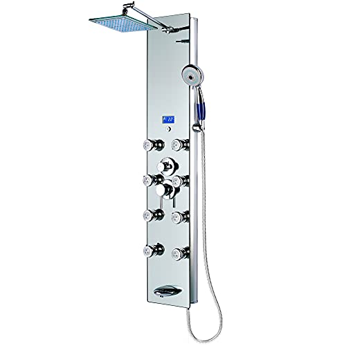 Blue Ocean 52″ Aluminum SPA392M Shower Panel Tower with Rainfall Shower Head, 8 Multi-functional Nozzles