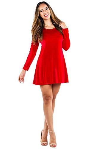 Tipsy Elves Women's Red Velvet Dress - Cute Velvet Christmas Dress: S