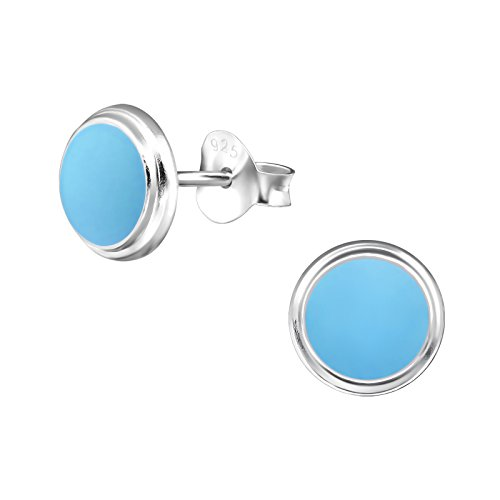 Laimons Pendientes para mujer Disco plano Azul pastel Plata de ley 925