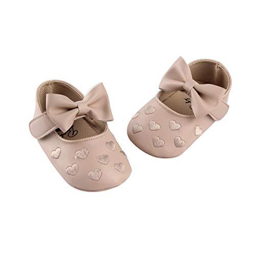 DEBAIJIA Bebé Niña Zapato de Fiesta Princesa con Cinta Mágica para 6-18 Meses Niños Recién Nacido Primeros Pasos Zapatos de Cuero con Lazo Moda Casual Antideslizante Suave Suela Patrón de Corazón
