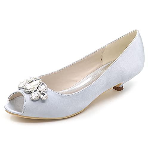 GIVROLDZ Satín Zapatos De Boda para Mujeres Peep Toe Diamante De Imitación Zapatos De Dama De Honor Partido Bombas Cómodo Zapatos De Noche,Plata,35