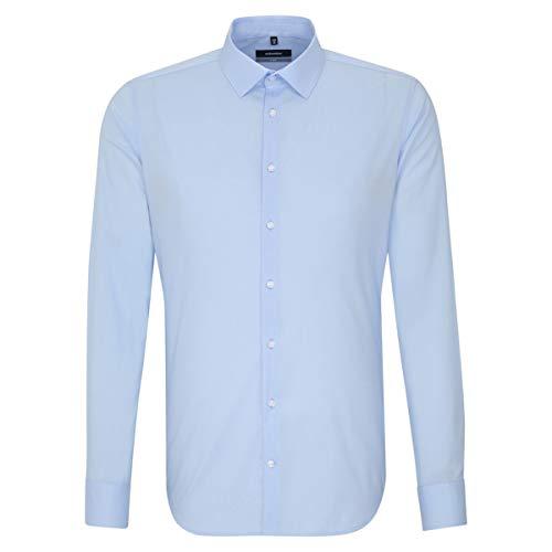 Seidensticker Herren Langarm Hemd X-Slim Uni Popeline Business Kent Unifarben 495680 (Blau, Kragenweite: 43 cm)