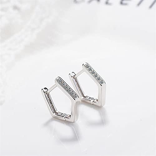 Shability Adecuado para Pendientes De Aro De Cristal Geométrico De Las Mujeres 925 Pendientes De Plata Esterlina Accesorios para Mujer yangain (Color : Gold)