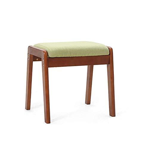 Stapelbarer Esszimmerstuhl aus Holz Wohnzimmer Schminktisch Make-up Sitz Stuhl Hocker Gepolstertes weiches Kissen mit abnehmbarem Leinenbezug B-Braun