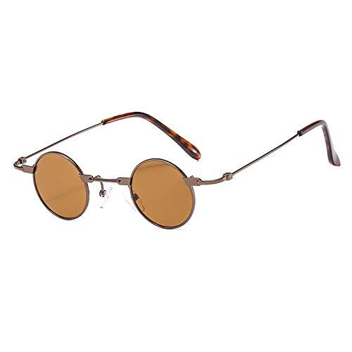 Sonnenbrille Herren Vintage Männer Sonnenbrillen Frauen Retro Punk Style Kleine Runde Metallrahmen Bunte Linse Sonnenbrille Mode Brillen C9Brown-Brown