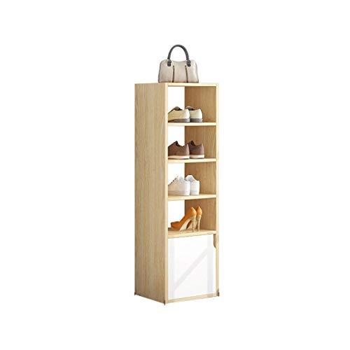 kiter Zapatera 5 Niveles de Zapato con gabinete Board Artificial Moda Gabinetes de Zapatos Simple Casa Puerta Estante Almacenamiento de Gran Capacidad Zapatero (Color : Wood Color)