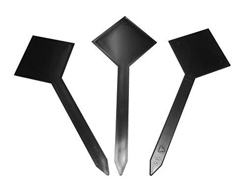 Lot de 10 marque-places en forme de losange - Noir - Hauteur : 21,5 cm - Plaque pour bac à glace, avec broche noire pour Ice Cream