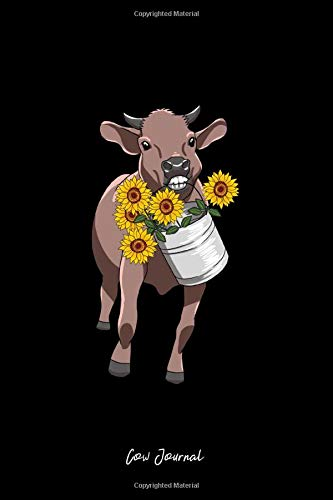 Cow Journal: Dot Grid Journal - Cow Sunflower Bucket Cute Farm Animal Flower Nature Gift - Black Dotted Diary  Planner  Gratitude  Writing  Travel  Goal  Bullet Notebook - 6x9 120 pages