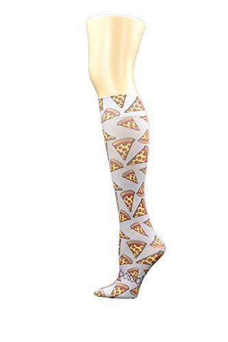 Hocsocx Schienbeinschoner für Fußball, Hockey, für Mädchen und Damen, lustige Muster, UK-Größe 38-42 Gr. 35/42 DE, Grey Pizza