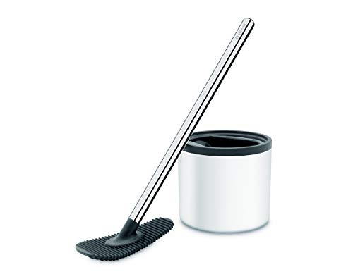 Nicol 4223226 WC-Champ weiß WC-Wischer ohne Borsten WC-Bürste mit Silikon-Pad - WC-Bürstengarnitur Edelstahl rostfrei