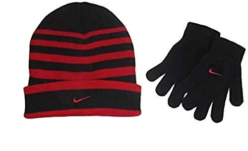 Nike Swoosh Cuff Style Striped Knit Beanie Skull Cap & Gloves Set Boys 8/20