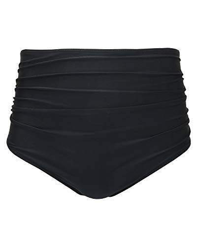 Tempt Me Women Retro High Waist Bikini Bottom Ruched Swim Brief Short Black S