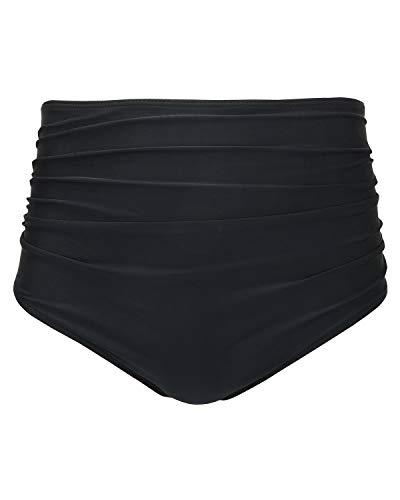 Tempt Me Women Retro High Waist Bikini Bottom Black Ruched Swim Brief Short M