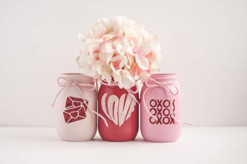 Valentines Day Mason Jar Decor Centerpiece, Love Decor, Valentines Day Centerpiece, Wedding Vases