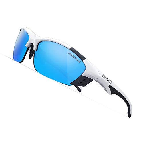 スポーツサングラス 偏光レンズ EMSフレーム おしゃれ 超軽量 快適 防風 防砂 紫外線防止 UVカット メンズ バイク お釣り アウトドア 運転 マラソン 専用交換レンズ3枚付き バンド付きメガネフレーム付きKD017 (ブライトホワイト&ブルーレンズ