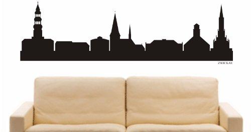 INDIGOS UG - Wandtattoo Wandsticker Wandaufkleber Aufkleber - Wandaufkleber e912 Skyline Stadt - Zwickau (Deutschland) Design 1-80x23 cm - schwarz - Dekoration Küche Bad Büro Hotel