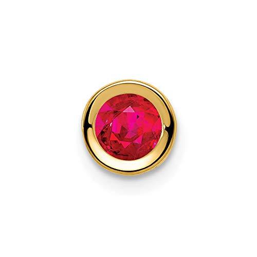 14K Yellow Gold 5mm Ruby bezel Pendant