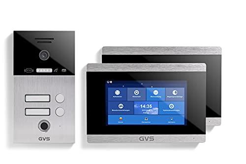 GVS IP Video Türsprechanlage, Unterputz-Türstation IP65 mit RFID und Fingerprint, 2X 7 Zoll Monitor, App, HD-Kamera 156°, Türöffner-Fkt, 32GB Speicher, PoE-Switch, 2 Familienhaus Set, AVS5030U