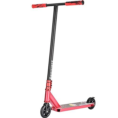 Patinete Freestyle Stunt Scooter Patinete Freestyle Stunt Scooter,Manillar Rotación 360° Plataforma Reforzada,Rodamientos ABEC 9 ,HIC System,Ruedas 100mm, Para Niños Y Jóvenes ( Color : Red-T )