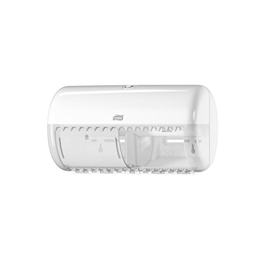 Tork 557000 Spender für Kleinrollen Toilettenpapier T4 in Weiß / Hygienischer Papierspender für Toiletten im Elevation Design
