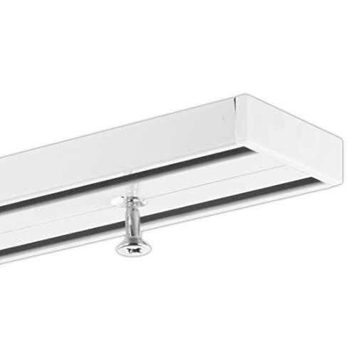 dekoline Gardineum / 180 cm/Vorhangschiene/alle Längen bis 4,60 m möglich/vorgebohrt/weiß/ 2-Lauf