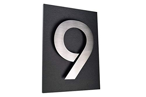 Hausschild 9 Hausnummer 2D Edelstahl V2A H20cm ITC Bauhaus Design Platte: 29x21cm diamant-anthrazit unsichtbare Befestigung