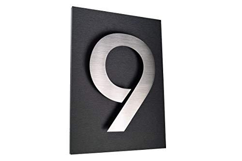 Hausschild 9 Hausnummer 2D Edelstahl V2A H20cm ITC Bauhaus Design Platte: 29x21cm diamant-anthrazit...