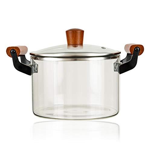 Pot à soupe Cooke en verre transparent résistant,mini pot transparent antiadhésif à haute température binaural en silicium à haute teneur en bore,pour cuiseur à induction à gaz à flamme ouverte