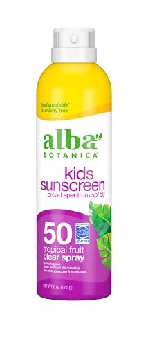 Alba Botanica Kids Sunscreen Spray, SPF 50, Tropical Fruit, 6 Oz